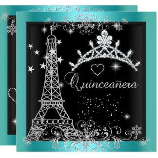 Cartão Torre Eiffel azul da tiara do brilho da cerceta de