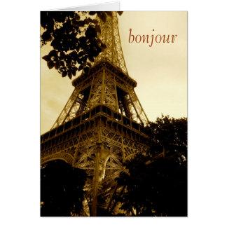 Cartão Torre Eiffel, bonjour! viagem, vazio para dentro