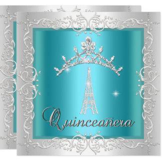 Cartão Torre Eiffel branca azul da tiara da cerceta de