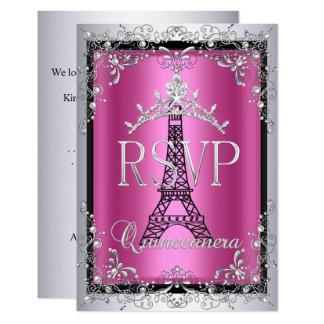 Cartão Torre Eiffel de prata cor-de-rosa da tiara de RSVP