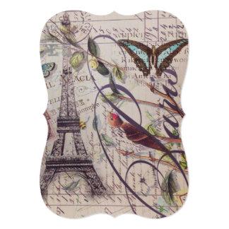 Cartão Torre Eiffel francesa de Paris da borboleta do