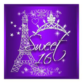 Cartão Torre Eiffel roxa do doce dezesseis do doce 16