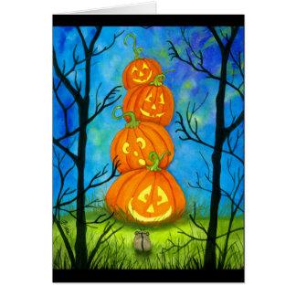 Cartão Totem feliz da abóbora do Dia das Bruxas por