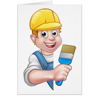 Cartão Trabalhador manual dos desenhos animados do pintor