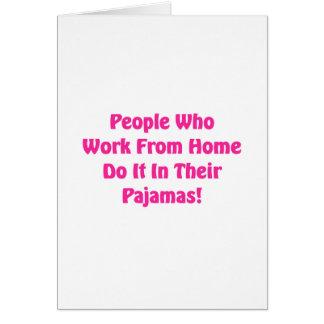 Cartão Trabalho em casa em seus pijamas