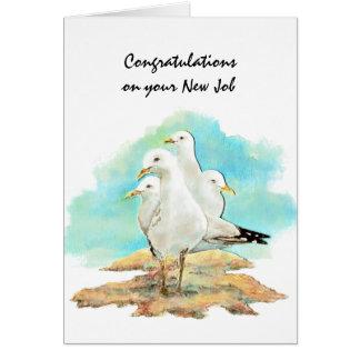 Cartão Trabalho novo das felicitações das gaivotas do