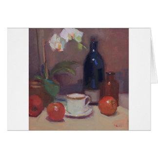 Cartão Trabalhos de arte das orquídeas e das garrafas com