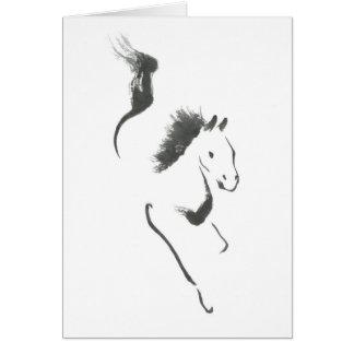 Cartão Traço à segurança, ano de Sumi-e do cavalo