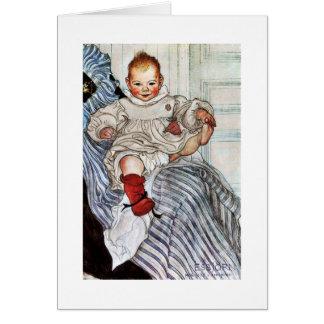 Cartão Trações de Esbjorn do bebê em seu pé