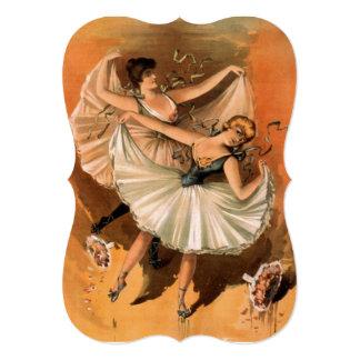 Cartão tradicional do vintage da dança popular convite 12.7 x 17.78cm