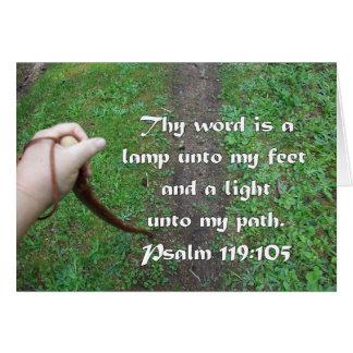 Cartão Trajeto da vara de passeio do 119:105 do salmo
