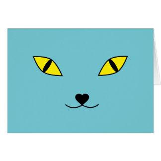 Cartão Travesseiro feliz da cara do gato