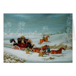 Cartão Treinador de correio na neve