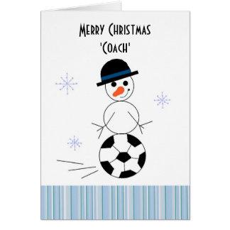 Cartão Treinador do futebol do boneco de neve