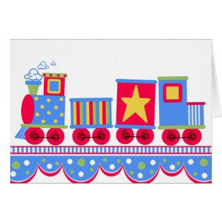 Cartão Trem azul e vermelho pouco