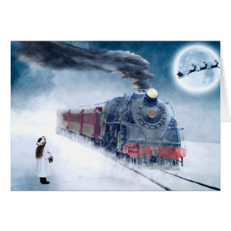 Cartão Trem da meia-noite do Natal com menina e papai