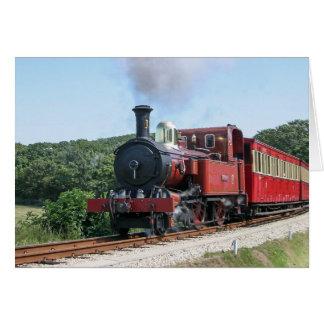 Cartão Trem do vapor na ilha de Castletown do homem