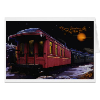 Cartão Trem velho do tempo do Feliz Natal na neve