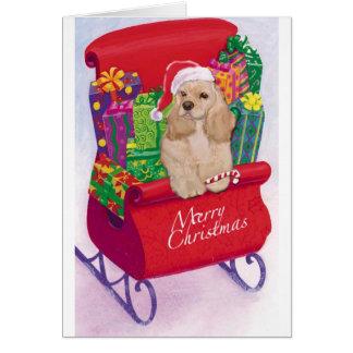 Cartão trenó e cocker do Natal