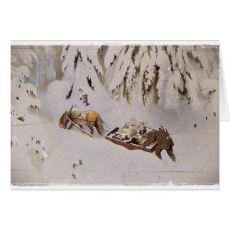 Cartão Trenó puxado a cavalo nas madeiras