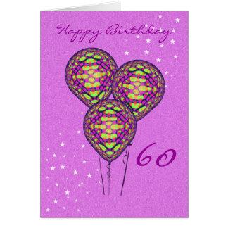 Cartão Três balões roxos (adicione a fotografia para