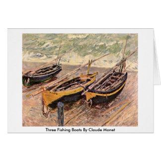 Cartão Três barcos de pesca por Claude Monet
