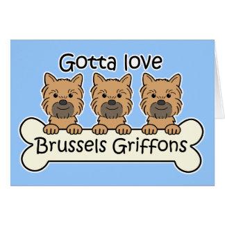 Cartão Três Bruxelas Griffons