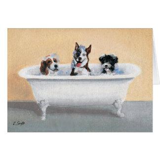 Cartão Três cães em uma cuba