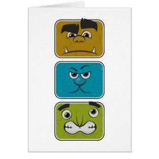 Cartão Três caras do monstro