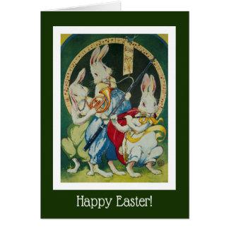 Cartão Três coelhos musicais perfeitos para a páscoa