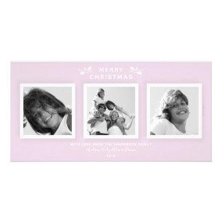 Cartão Três Felizes Natais rosa pálido mínimo chique da
