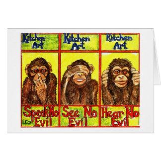 Cartão Três macacos sábios