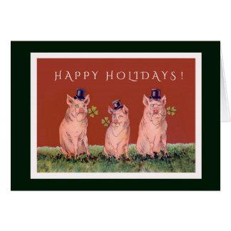 Cartão Três porcos adoráveis que desejam o boas festas