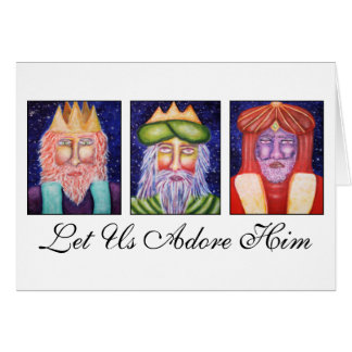 """Cartão Três reis Arte """"deixaram o uso Adore o"""" Natal"""