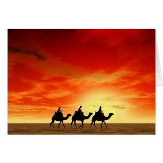 Cartão Três reis e por do sol vermelho
