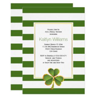 Cartão Trevo, chá de panela wedding irlandês das listras