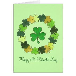Cartão Trevo do trevo do verde do dia de St Patrick feliz