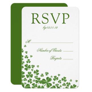 Cartão Trevo verde irlandês que Wedding RSVP