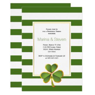 Cartão Trevo & verde, listras que wedding o jantar de