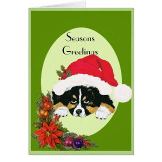 Cartão Tri filhote de cachorro preto do Natal em um