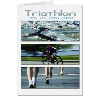 Cartão Triathlon - o trem, come, dorme, repete
