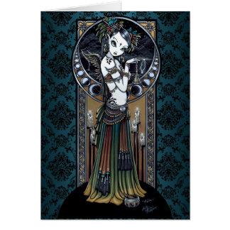 Cartão tribal gótico da arte do dançarino da fusão