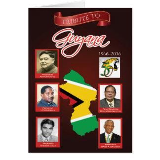Cartão Tributo ao aniversário da independência de Guyana