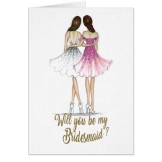 Cartão triguenho da dama de honra da noiva