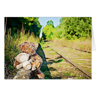 Cartão Trilha romântica do trem dos ursos de ursinho da