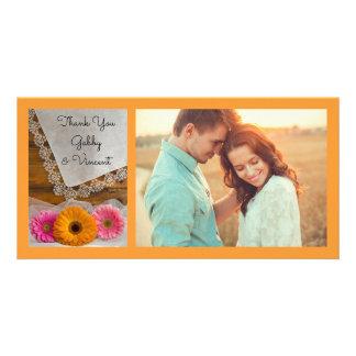 Cartão Trio da margarida e obrigado do casamento do laço