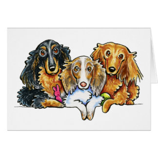 Cartão Trio de cabelos compridos do Dachshund