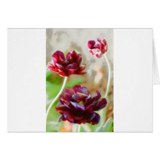 Cartão Trio de florescência da tulipa da peônia escura do