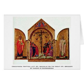 Cartão Triptych da crucificação deixado: São Nicolau