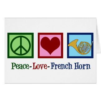 Cartão Trompa francesa do amor da paz